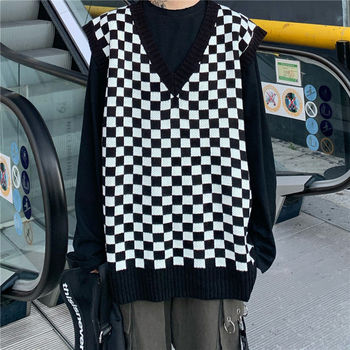 Autumn Plaid Sweater Vest Men's Fashion Retro Casual V-neck Knitted Pullover Men Clothes Loose Couple Vest Knitting Sweaters zozowang 2019 autumn army vest v neck print camouflage single breasted vest men fashion pockets plus size loose waist coat men