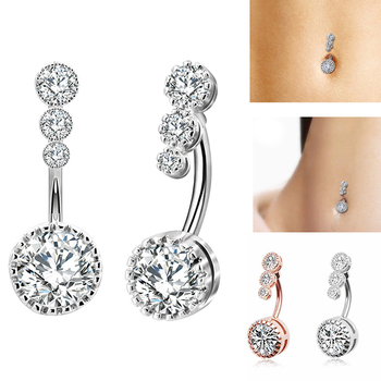 1pc Sexy Dangling Navel Belly Button Rings Belly Piercing Crystal Steel Woman Body Barbell Women Accessories Jewelry image