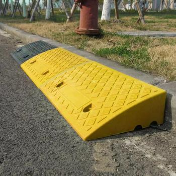 Portable Lightweight Curb Ramps Heavy Duty PVC Plastic Threshold Ramp Mat Car Truck Motorcycle Wheelchair 17-20cm Height Steps image