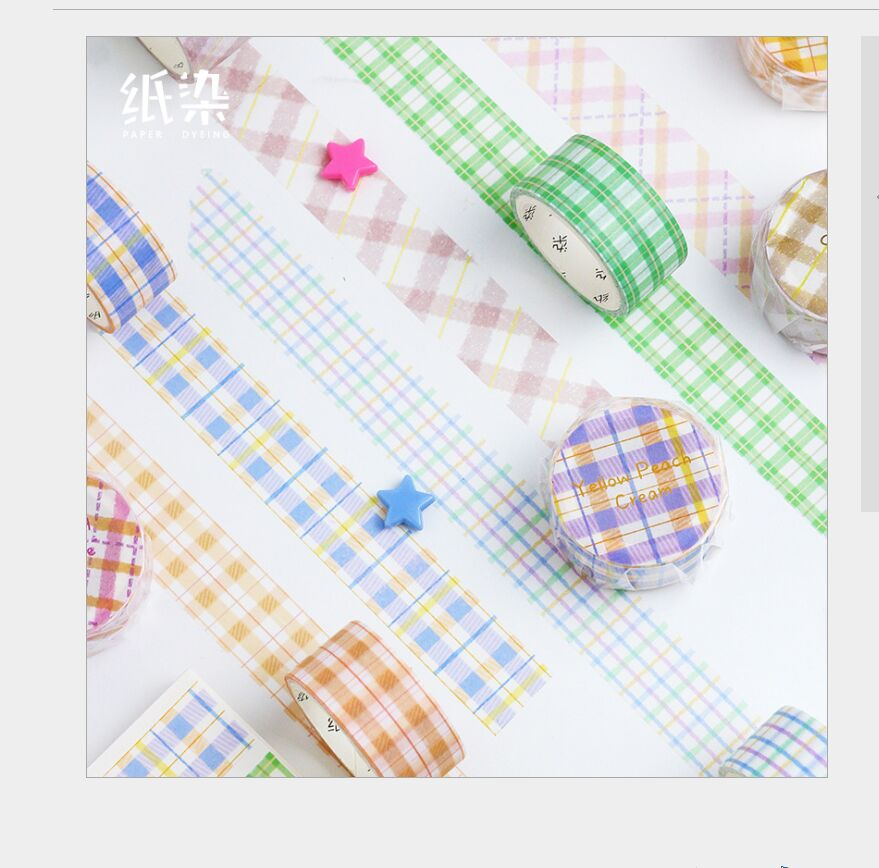 20mm Wide Sweet Color Plaids Checks Grid Control Square Grid Collage Washi Tape DIY Planner Scrapbooking Masking Tape Escolar
