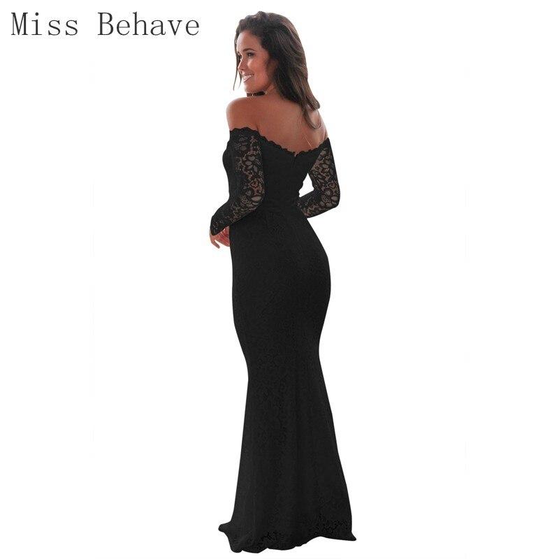 DD JYOY Black Evening Dress Long Sleeve Simple Style Lace Long Formal Dress Off Shoulder Mermaid Gown Zipper Back