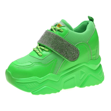 YeddaMavis Shoes Green Daddy Women Sneakers New Wild Muffin Bottom PU Casual Womens Woman Trainers