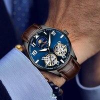 Schweiz Wasserdichte Mechanische Männer Beiläufige Uhr Doppel Tourbillon Top Marke Luxus Leder Business Automatische herren Uhren-in Mechanische Uhren aus Uhren bei