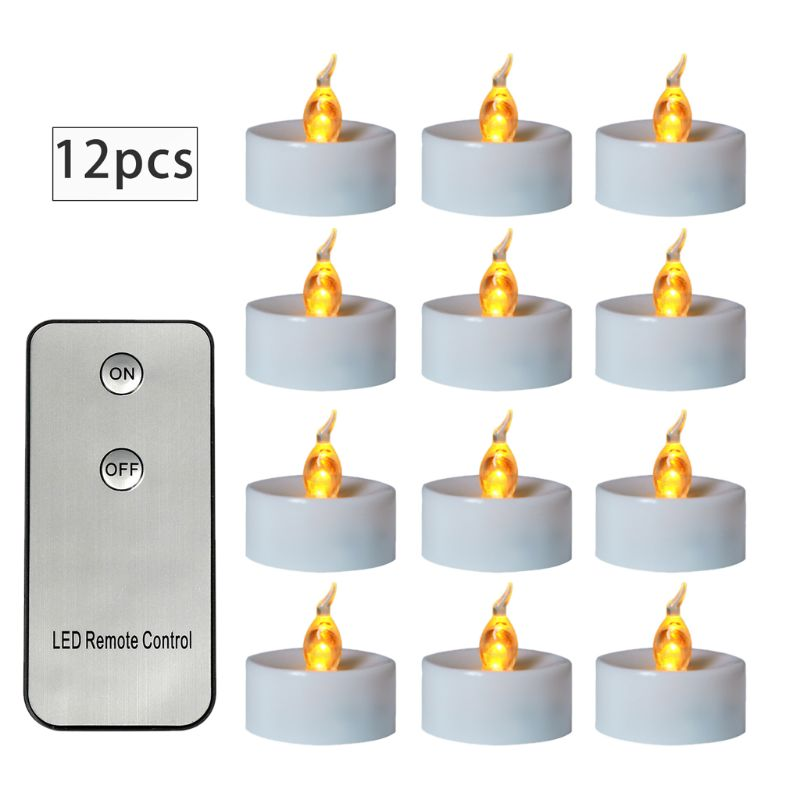 12pcs Flickering LED Candle Lights With Remote Control Flameless Electric Tealight