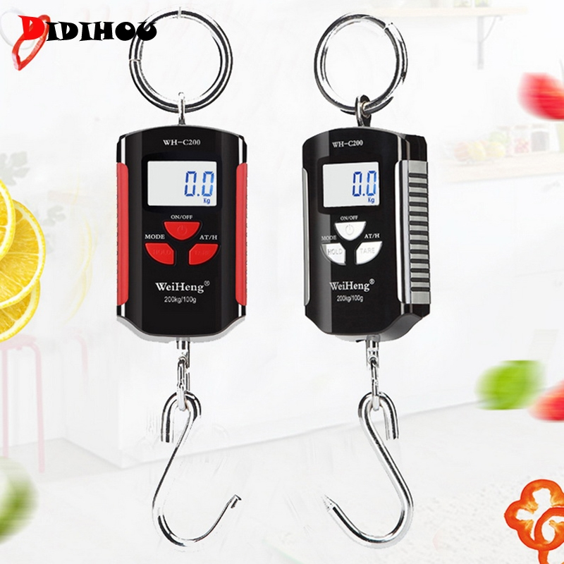 DIDIHOU <font><b>200kg</b></font>/441lb Portable Mini <font><b>Digital</b></font> <font><b>Scale</b></font> LCD Display Luggage Heavy Crane Hanging Hook <font><b>Scale</b></font> Pocket Weight Pig Sheep image