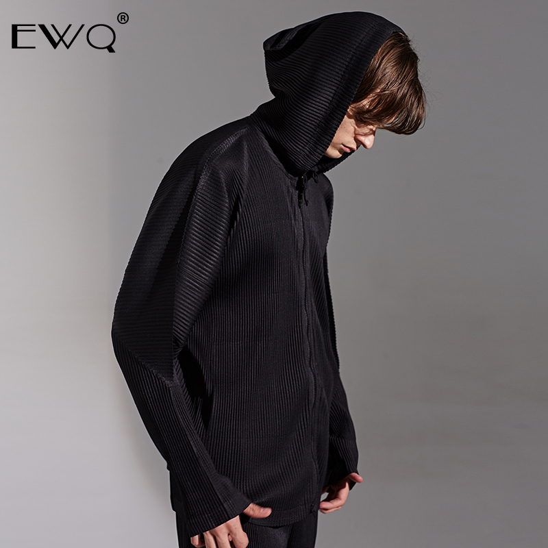 EWQ /high Quality Men's Pleated Sweatshirt For Male 2020 Spring New Handsome Trendy Loose Clothes Japanese Fashion Hoodies 9Y466