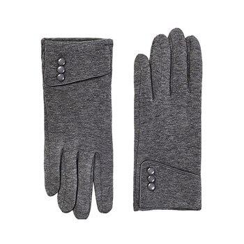 Moda novedosa, 1 par de guantes de invierno para mujer con pantalla táctil, cálidos guantes gruesos forrados con botones para decoración, guantes minimalistas para mujer