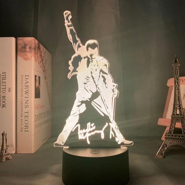 3d Lamp Queen Freddie Mercury Figure Led Night Light Touch Sensor Baby Kids Nightlight for Office Room Decorative Lamp 3d Gift
