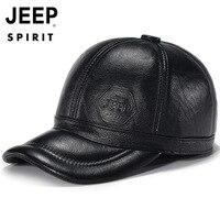 Original JEEP SPIRIT Genuine Leather Cap Men Hat Winter Warm Caps Cow Leather Cap Men Dad Hat Ear Protection Hat gorra hombre