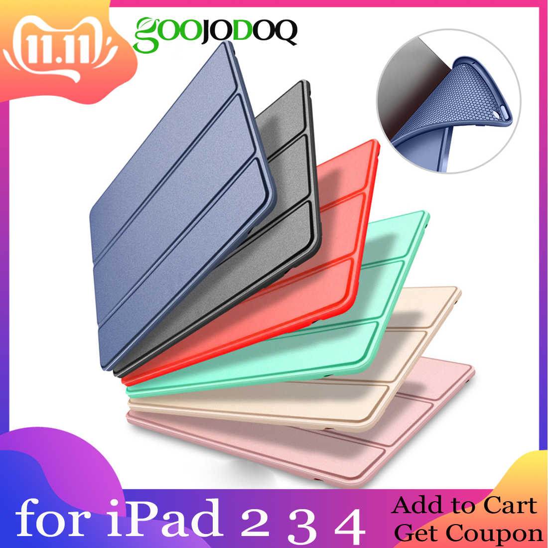 Case for iPad 2 3 4 Case Silicone Soft Back Folio Stand with Auto Sleep/Wake Up PU Leather Smart Cover for iPad 3 4 2 Case