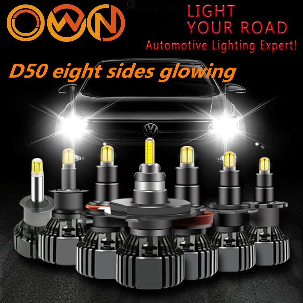 DLAND OWN D50 360 DEGREE GLOWING EIGHT SIDES FOCUSING 90W 12V 24V TRUCK 6000LM AUTO CAR LED BULB LAMP CREE CHIP H1 H3 H7 H11 HB3