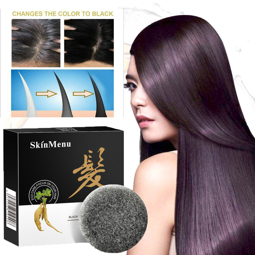 1PC Hair Darkening Shampoo Bar - He Shouwu Natural Organic Conditioner and Repair Moisturize Soothes the Scalp Oil Control