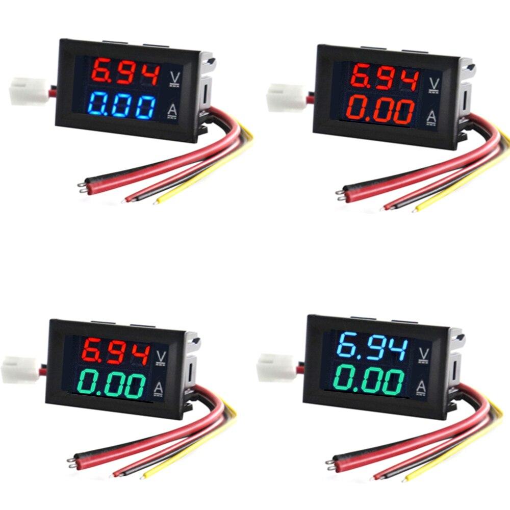 Высококачественный Вольтметр Амперметр постоянного тока 100 в 10 А синий + красный светодиодный двойной цифровой индикатор напряжения