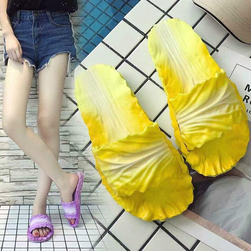 LLUUMIU Women's Slippers Funny Shoes Cabbage Shoes summber Flip Flops for Women Female Slates Home Bathroom Women Slides ladies