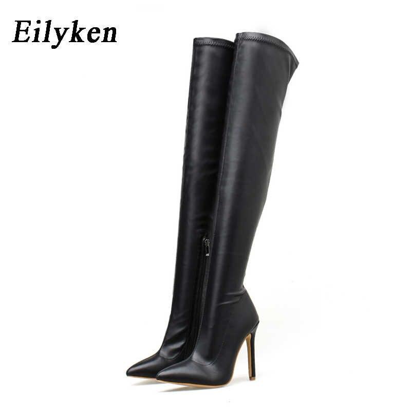 EilyKen/модные сапоги выше колена из искусственной кожи; пикантные зимние женские сапоги на молнии с острым носком на очень высоком каблуке для ночного клуба