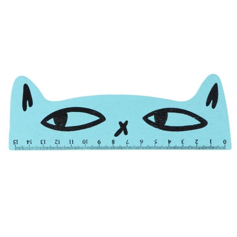 15cm Cute Cartoon Cat Wood Parallel Straight Ruler Stationery For Painting