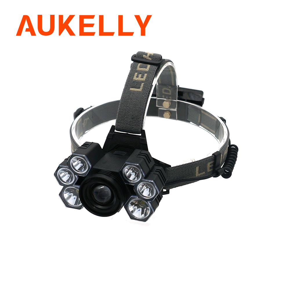 LED USB Rechargeable Headlamp 5 Mode Brightest 6000 Lumen Helmet Light Waterproof Headlights Flashlight With Zoomable Work Lamp