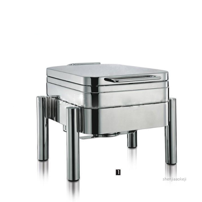 Commercial Buffet Stove Stainless Steel Food Heating Pot Square-shape Hydraulic Dining Furnace For Restaurant / Hotel 4L 1pc