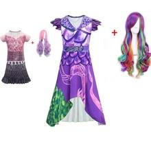 Mal and Evie Girls Descendants 3 Cosplay Dress Costume 3D Printed Kids Halloween Masquerade Sleeved Short Dresses