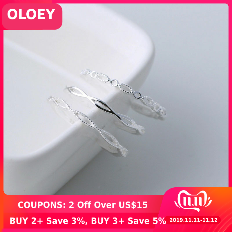 OLOEY Simple Infinity Design Adjustable Finger Rings For Women 100% Genuine 925 Sterling Silver Ring Bague Fine Jewelry YMR773