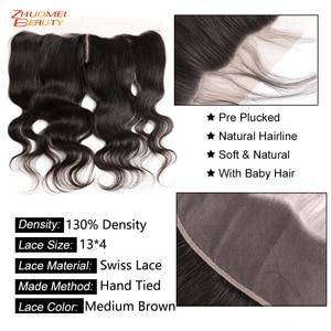 "Image 3 - Zhuomei Beauty Body Wave Bundels Met Frontale P Braziliaanse Haar 3 Bundels Met Frontale Sluiting Remy Human Hair 8  30inch 32 34 36"""