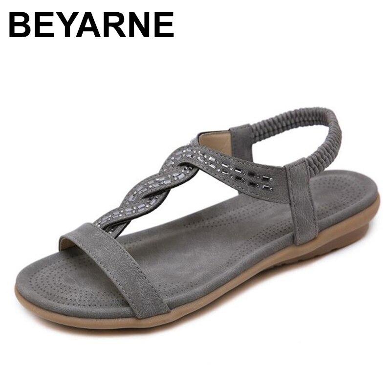 BEYARNE  summer shoes women bohemia beach flip flops soft flat sandals woman casual comfortable plus size wedge sandals