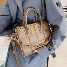2021 nowych moda wysokiej jakości PU skóra kobiet projektant torba na ramię Crossbody markowe pani łańcucha kraty skrzynki torebki