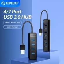 ORICO Mini USB 3,0 HUB 4 7 Ports USB 3,0 Splitter High Speed OTG Adapter Mit Typ C Netzteil port für Computer Zubehör