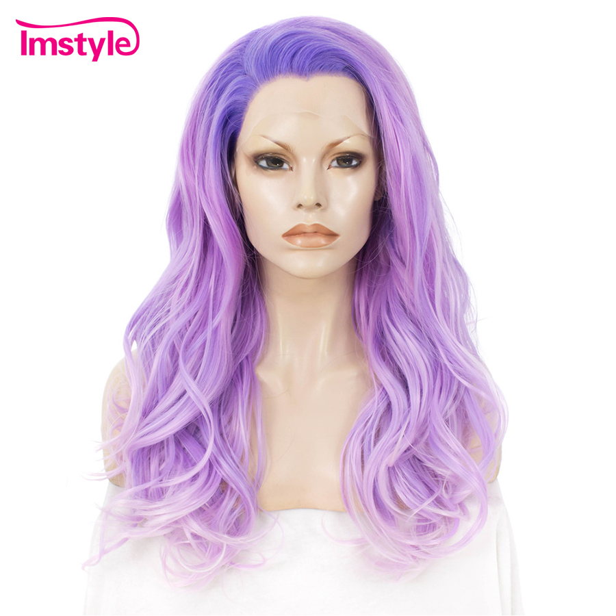 Imstyle Purple Wig For Women Ombre Synthetic Lace Front Wig Wavy Dark Root Glueless Heat Resistant Fiber Cosplay Wigs 24 Inches