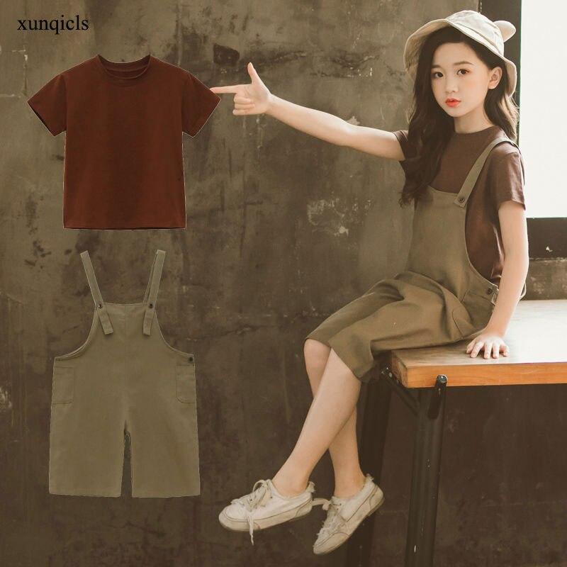 НОВЫЕ комплекты летней одежды для девочек, детские футболки + комбинезоны, штаны, 2 предмета, детская повседневная одежда для девочек