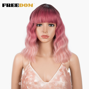 FREEDOM Synthetic Wig With Bangs Pink Natural Curly Bob Cosplay Wigs 12 inch Short Wavy Ombre Wig Heat Resistant Synthetic Hair(China)