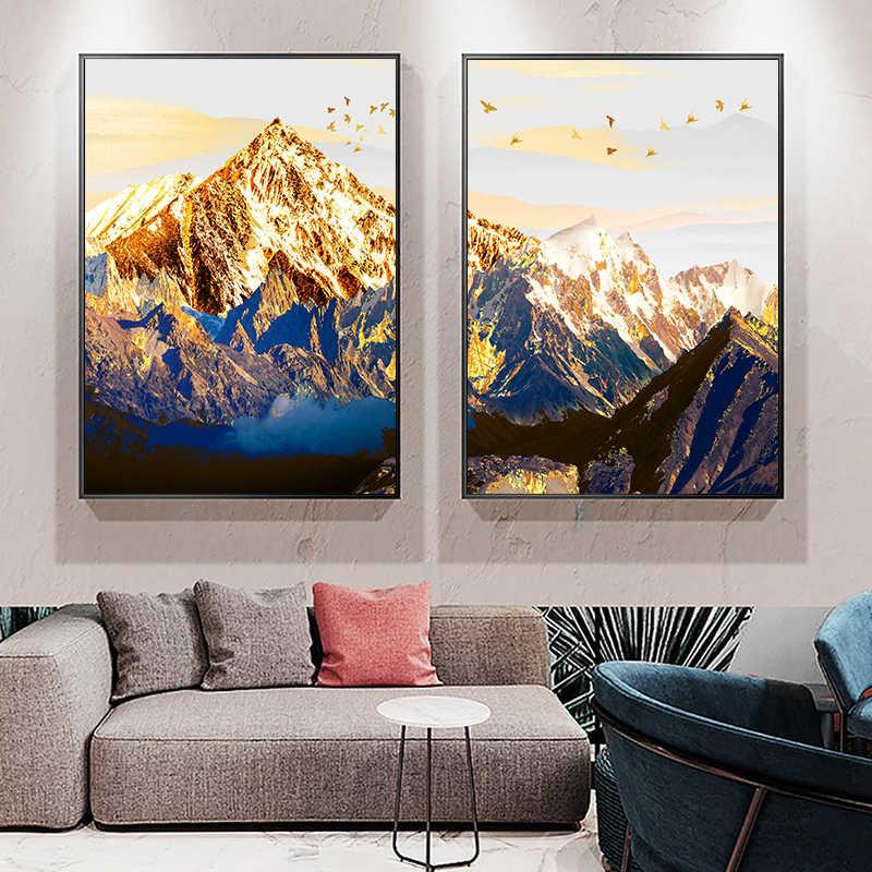 الذهبي مجردة الثلوج الجبل المشهد خريطة قماش اللوحة الفن طباعة المشارك صورة جدار الشمال ديكور صورة ديكور المنزل