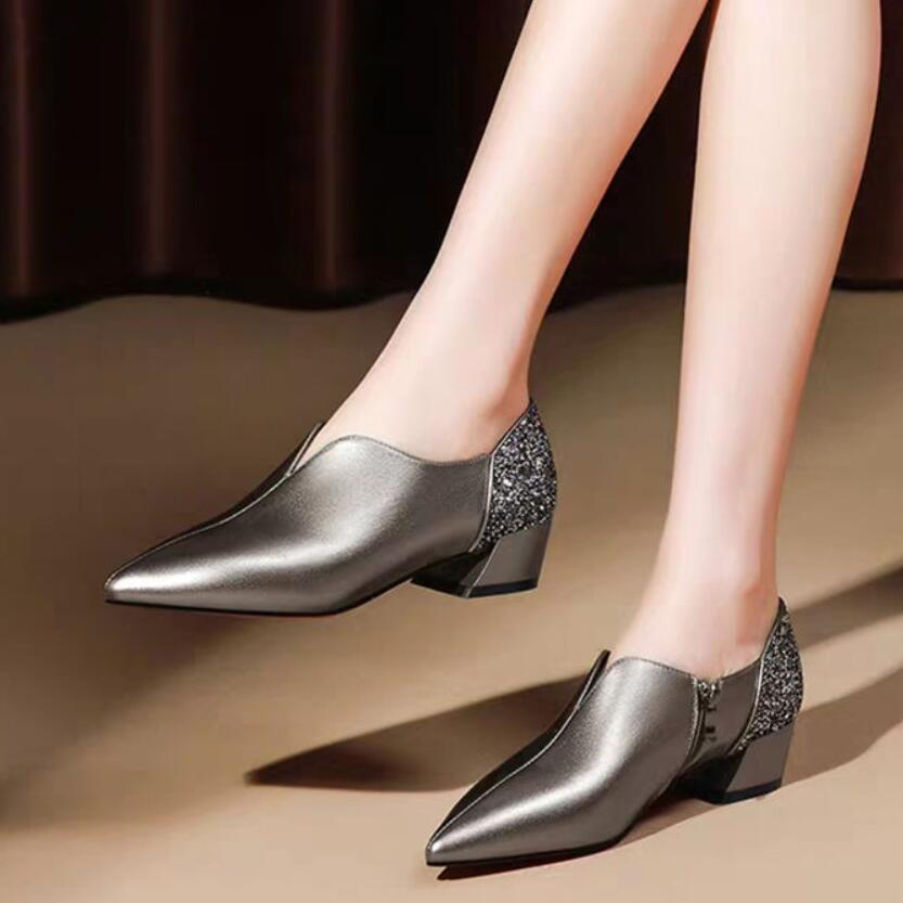 Spring Shoe Woman Mid Heels Women Pumps 2020 Pointed Toe Thick Heel Female Single Shoes Sequince Soft PU LEATHER Black Silver