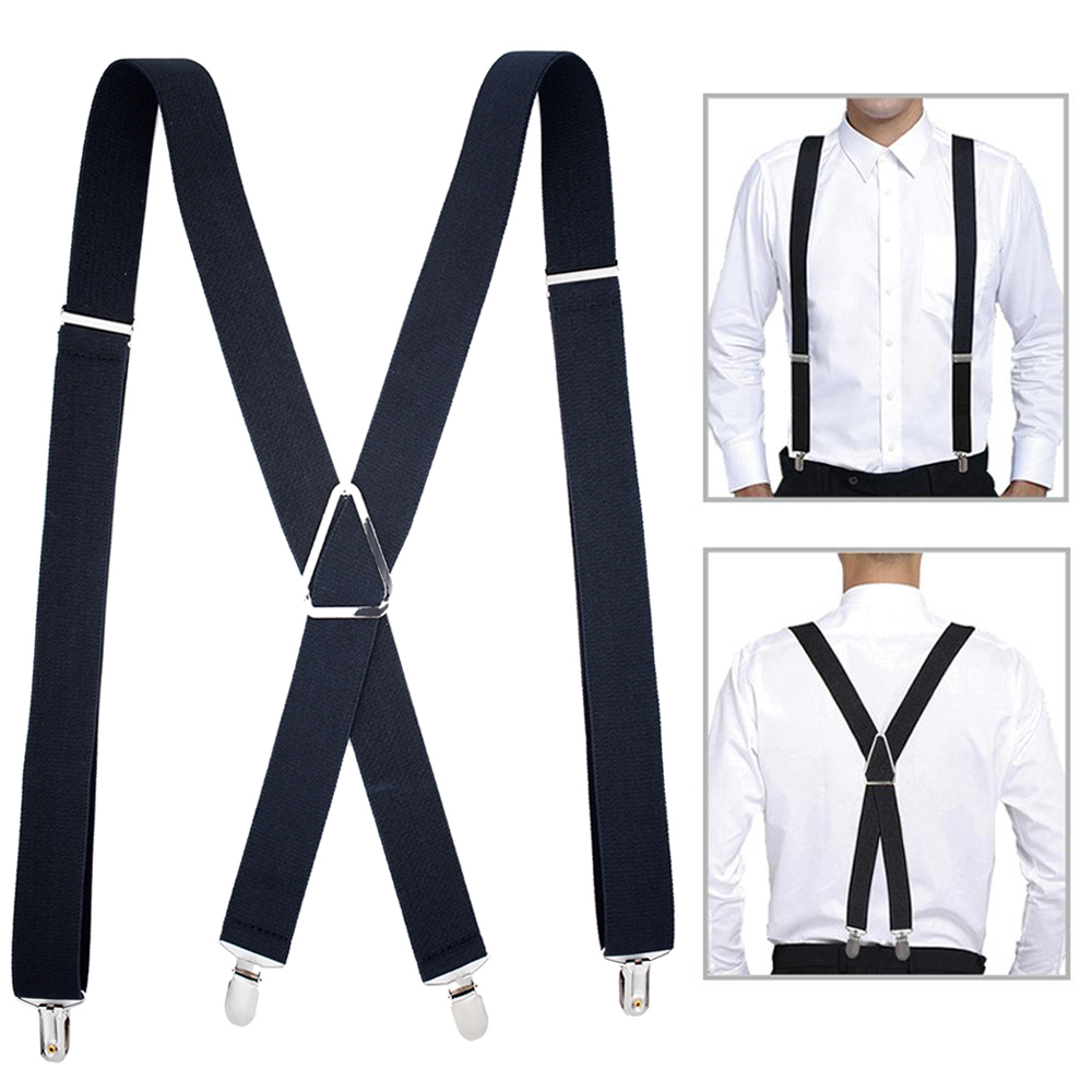 Solid Color Suspenders Braces With Clips For Women Men Adult X Back Adjustable Elastic Large Size Tirante Trousers Strap Bretele