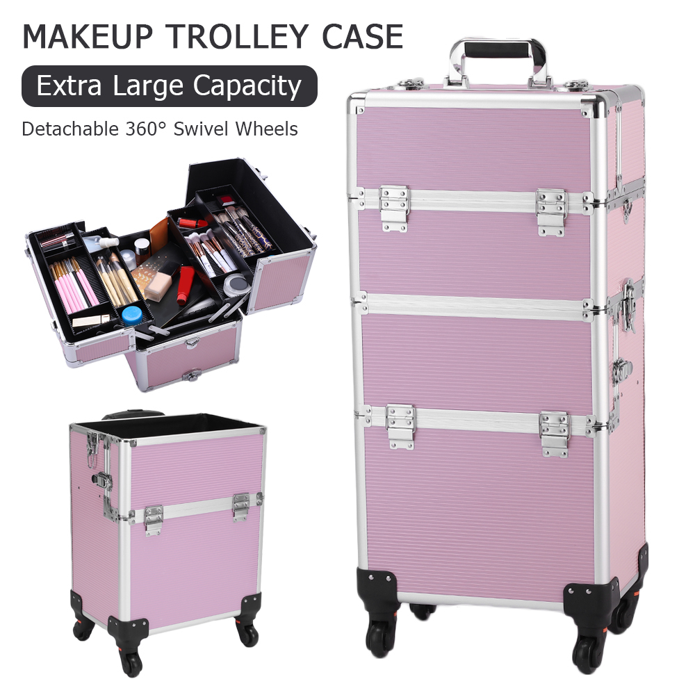 Multifunction 3 In 1 Aluminum Cosmetic Makeup Case Tattoo Box Storage Organizer Trolley Travel Cosmetic Bag Women Makeup Bags