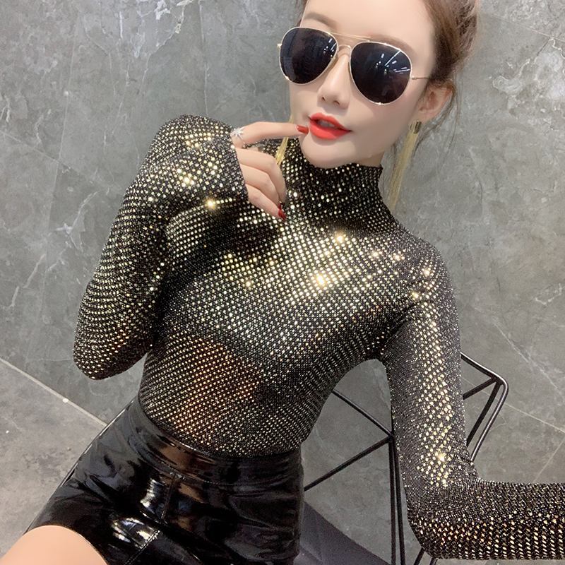 2020 New Spring Autumn Bright Gold T-shirt Korean Clothes Sexy Shiny Women Turtleneck Tops Ropa Mujer Bottoming Shirt Tee T9D608