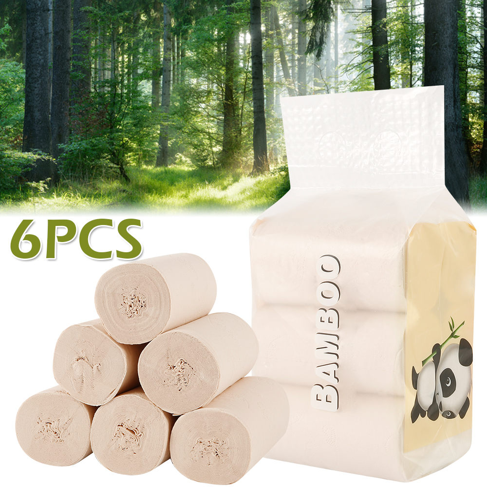 6 Rolls Toilet Paper Tissue Primary Wood Roll Paper Clean Prevent Flu Cleaning Toilet Tissue Soft Toilet Paper