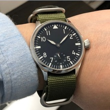 44mm GEERVO black dial Asian 6498 17 jewels Mechanical Hand Wind movement men's