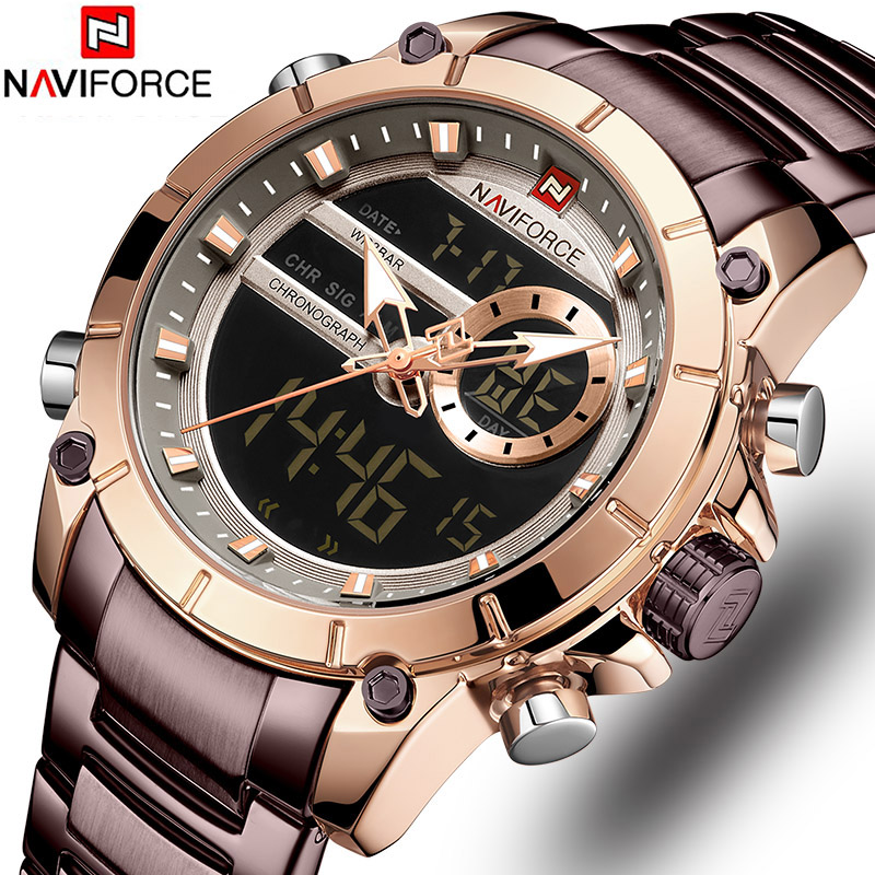 Naviforce Luxury Male Watch with Luminous Dial Digital Quartz Top Brand Man Watches 2019 Brand Luxury Men's Watch Dual Display-in Quartz Watches from Watches