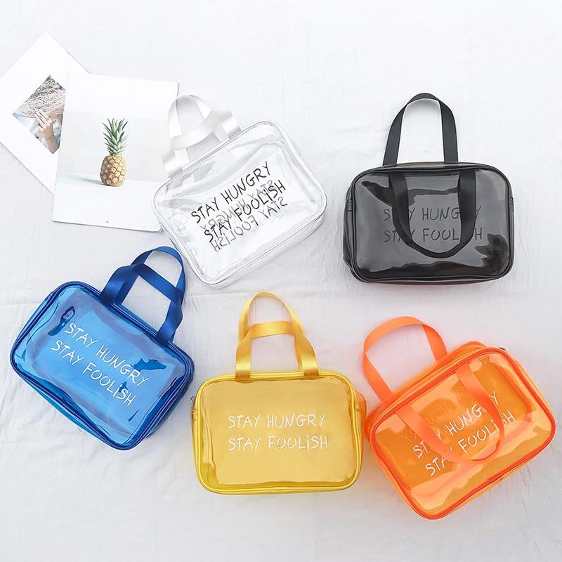 Travel Transparent Cosmetic Bag PVC Women Zipper Clear Makeup Bags Beauty Case Organizer Jelly Beach Summer Storage Wash Bag