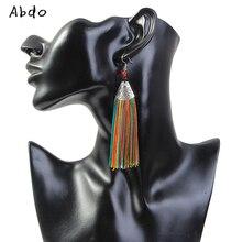 New Luxury Bohemian Crystal Tassel Earrings Black White Blue Red Silk Fabric Long Drop Dangle For Women Jewelry