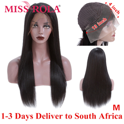 Miss Rola Hair 13*4 Lace Front Human Hair Wigs 150% Density Straight Brazilian Non-Remy Hair Middle Ratio Wigs for Black Women