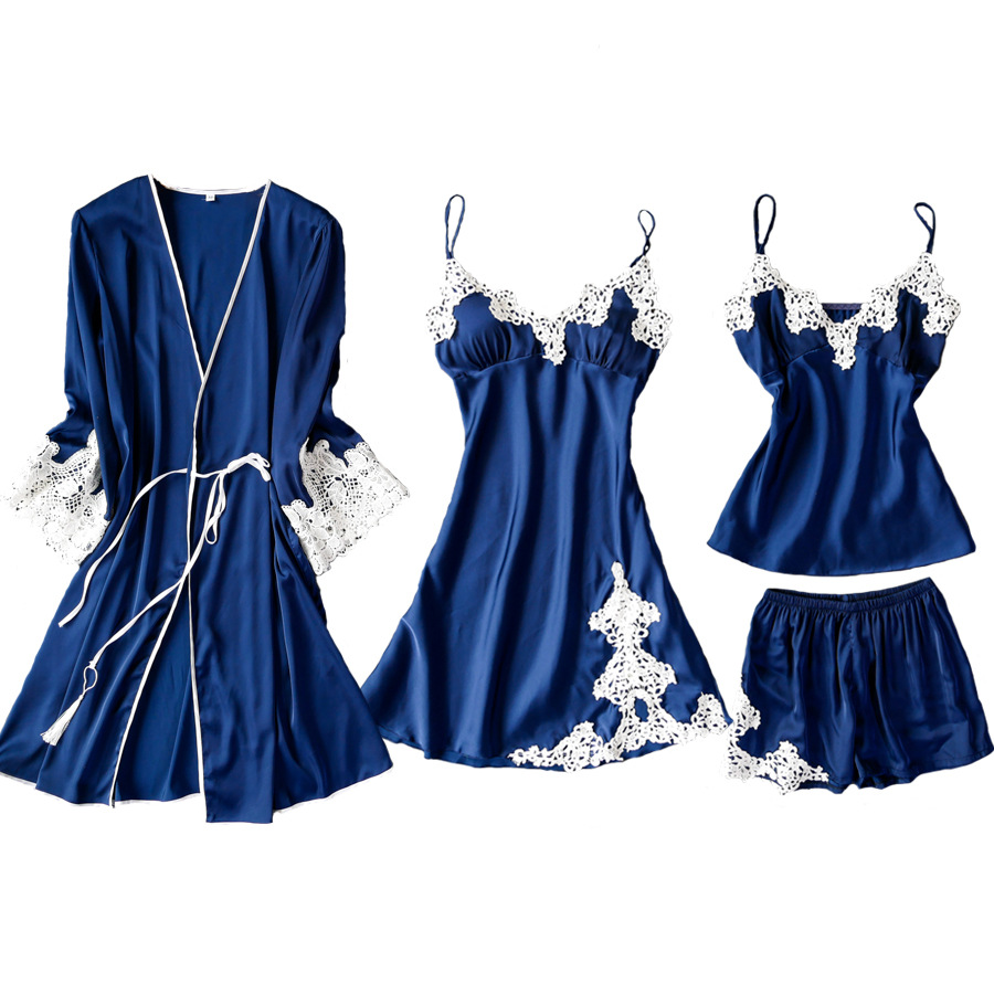 Satin Lace Patchwork Sleepwear Female Casual 4PCS Sleep Set Kimono Robe Gown Sexy Intimate Lingerie Home Clothes Silky Nightwear