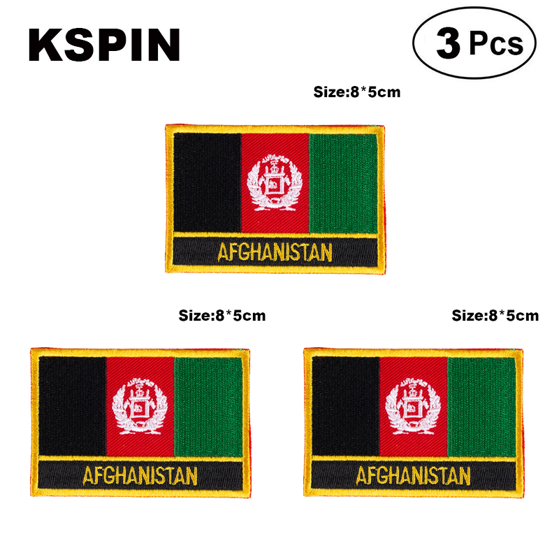 <font><b>Afghanistan</b></font> Rectangular Shape Flag patches embroidered flag patches national flag patches for clothing DIY Decoration image