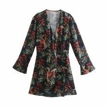 Vintage Wrap-Dress Long-Sleeve Vestido Floral-Print Spring Women Cross-V-Neck Lady Female
