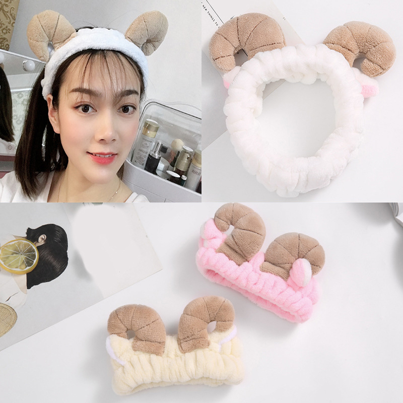 Cute Sheep Horn Soft Fleece Women Headband Makeup Shower Head Wrap Hair Band For Washing Face Shower Spa Mask