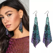 2020 Sale Tin Alloy Brincos Aretes Earing European And American Fashion Earrings With Metal Sequins Sulphur New Square Long