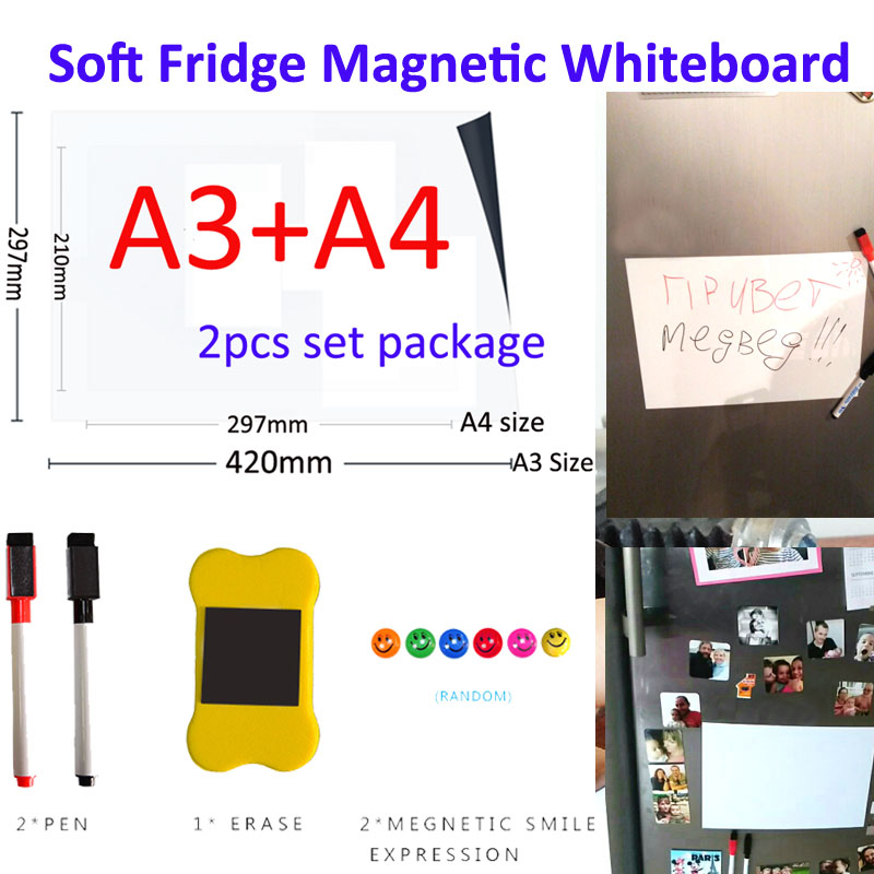YIBAI Magnetic Whiteboard Soft Home Office Kitchen Magnet Dry Erase Board White Board Flexible Pad Magnet Fridge A3+A4 Set