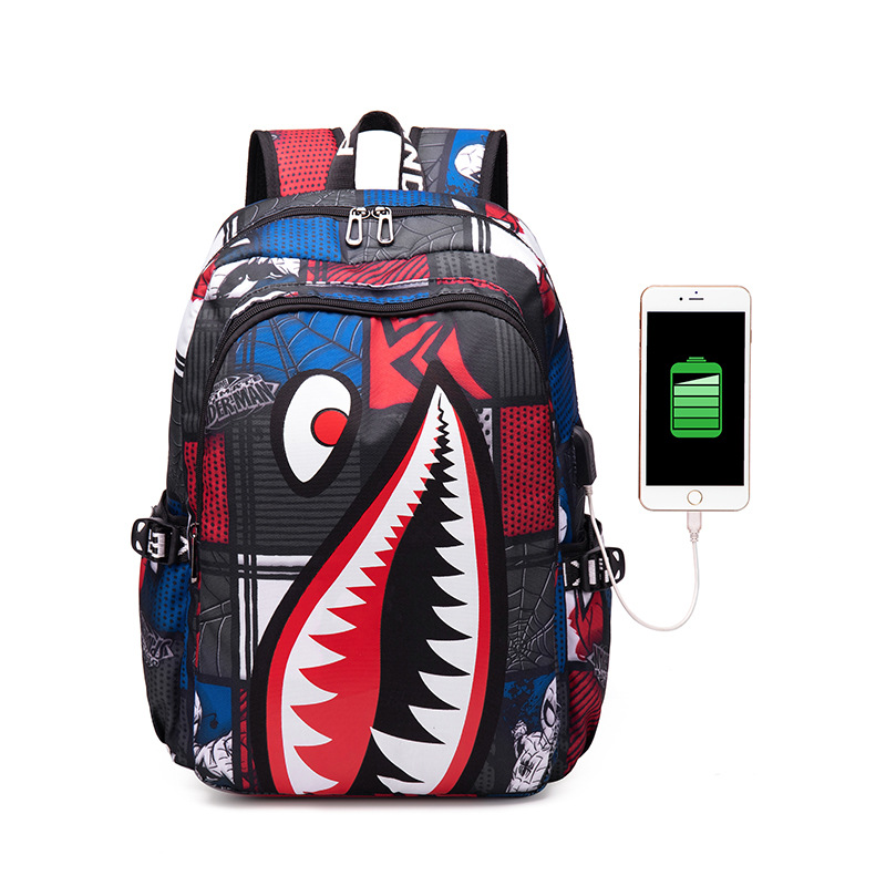 New Printing Shark Backpack Leisure Travel Outdoor Large Capacity Men And Women Backpack  Shark Original Student Fashion Bag