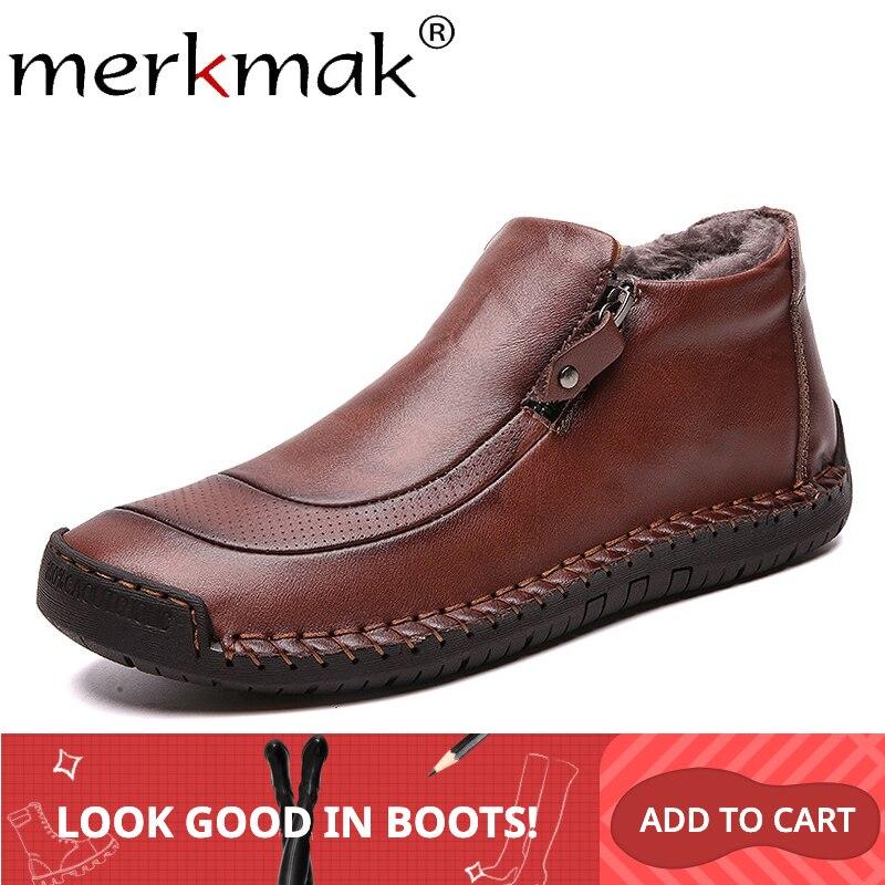 Mermak Warm Men Boots Casual Zipper Slip On Man Shoes Autumn Winter Cotton Leather Boots Non-slip Comfortable Big Size39-48 Flat